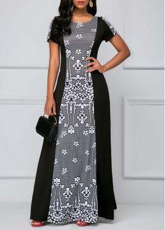 Printed Short Sleeve Black Maxi Dress on sale only US$34.90 now, buy cheap Printed Short Sleeve Black Maxi Dress at liligal.com