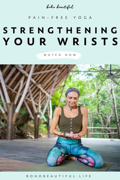 Why do my wrists hurt during yoga? How do I strengthen the wrists?  | Boho Beautiful | What can I do when my wrists become weak and begin to hurt during yoga? Many people experience wrist pain in planks, downward dogs, chaturangas, or just generally when bearing a lot of body weight on their hands. There are ways to cope with this wrist pain by using different wrist strengthening exercises, and wrists stretching movements and postures. #yoga #fitness #exercise #workout #wristpain…