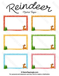 Free printable reindeer name tags. The template can also be used for creating items like labels and place cards. Download the PDF at http://nametagjungle.com/name-tag/reindeer/