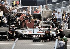 Car Number 1 with Michael Andretti is in for a pit stop during Champ Car racing at the Molson Indy in Vancouver race 1992.