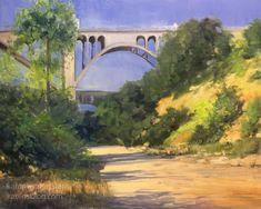 A California impressionist plein air style oil painting of Pasadena Impressionist Landscape, Landscape Art, Landscape Paintings, Oil Paintings, Painting Art, San Gabriel Mountains, San Gabriel Valley, Colorado Street Bridge, June Lake
