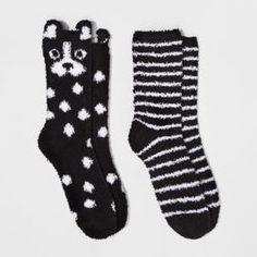 ceb287d47 Women s 2-Pack Cozy Crew Dog Socks - Xhilaration™ - Black One Size Dog