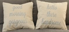 "His and Hers Pillow Covers - 16""x16"" - Good Morning Gorgeous - Hello There Handsome - wedding gift- -anniversary gift- -mr and mrs - linen"