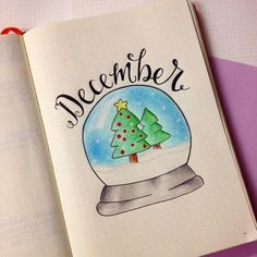 Creative Inspiration: December bullet journal Monthly Header // Bujo Month header Spread // planner art ideas for winter December Bullet Journal, Bullet Journal Cover Page, Bullet Journal Spread, Journal Covers, Journal Pages, Journals, Journal Ideas, Notebooks, Bullet Journal Junkies