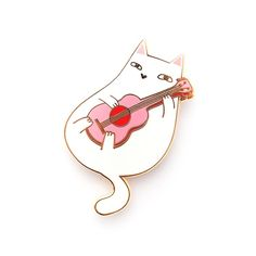Ukulele Cat Enamel Pin – Natelle Draws Stuff