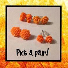Orange rose earrings | orange mum earrings | orange skull earrings | orange mini rose earrings - 1 pair choose style - pinned by pin4etsy.com
