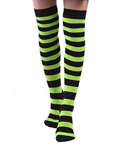 175213ba0ec Amazon.com  Women s Extra Long Striped Socks Over Knee High Opaque Stockings  (Black   Blue)  Clothing
