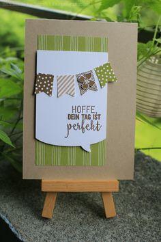 Geburtstagskarte / Birthday card ||| Stampin' Up! ||| DSP Wildblumenwiese/Wildflower Fields, Fähnchen/Banner, Flüsterweiss/Whisper White, Ganz schön aufgeblasen/Just Sayin', Im Fähnchenfieber/Banner Blast, Itty Bitty Akzente/Itty Bitty Accents, Olivgrün/Old Olive, Pictogram Punches, Reihenweise Grüsse/Suite Sentiments,Savanne/Crumb Cake, Wildleder/Soft Suede