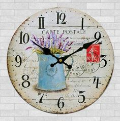 Schmuckbox 16' Vintage France Paris Colorful French Country Tuscan Style Non-Ticking Silent Wood Wall Clock ?- _î__ -- Startling review available here  : home diy wall