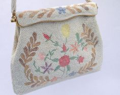 Vintage Ivory Pearl Hand Beaded Evening Bag WIth by AGoddessDivine, $110.00
