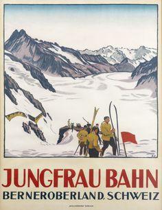 Jungfrau+Bahn+-+Berneroberland+Schweiz+(skiers)+by+Cardinaux,+Emil