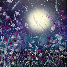 ARTFINDER: Star lit sparkle by Jane Morgan - This original acrylic painting was inspired by flowers and delicate grasses with a backdrop of the moon and stars in a deep purple sky. I have used pearlesce...