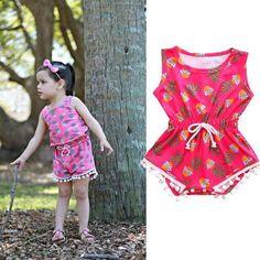 Baby girl sleeveless print tassel