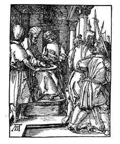 """12. Pilate Washing his Hands, c. 1511:      """". . . [Pilate] took water and washed his hands before the crowd, saying 'I am innocent of this man's blood; see to it yourselves.'""""   Matthew 27:24 b ESV"""