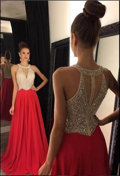 2016 New Crystals Beaded Chiffon Prom Dresses Halter Red Chiffon Floor Length Party Evening Dresses Short Poofy Prom Dresses Short Prom Dresses Under 50 From Enjoyweddinglife, $138.12| Dhgate.Com