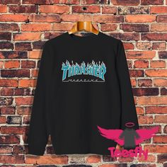 Thrasher Flame Blue Personalized Sweatshirt Cheap //Price: $27.50     #giftideas