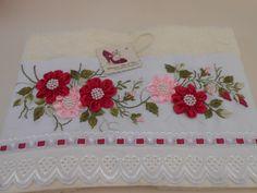 Silk Ribbon Embroidery, Custom Embroidery, Embroidery Stitches, Embroidery Patterns, Shirt Embroidery, Satin Flowers, Felt Flowers, Nursery Crafts, Border Embroidery Designs