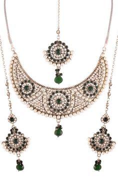 Green Silver Plated Austrian Diamond Necklace Set