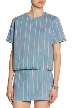 Shop on-sale T by Alexander Wang Striped denim top. Browse other discount designer Tops & more on The Most Fashionable Fashion Outlet, THE OUTNET.COM