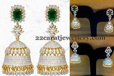 Jewellery Designs: Temple Bell Design Diamond Jhumkas