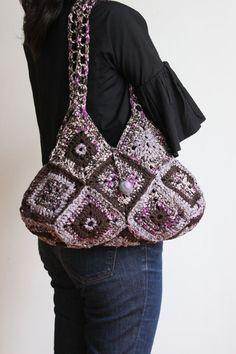 Purple/Brown Crochet Handbag by giftOclock on Etsy