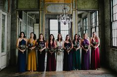 jewel toned bridesmaid dresses - photo by Lev Kuperman http://ruffledblog.com/vintage-romantic-wedding-at-the-metropolitan-building
