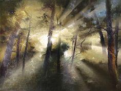 Литовский художник Петрас Лукосиус (Petras Lukosius)   цвет художник сюр пейзаж лес картины искусство   art автор