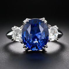 5.16 Carat Oval Sapphire and Diamond Ring