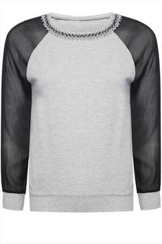 Grey Sweat Top With Contrast Sleeves And Embellished Collar $28.00