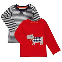 Buy John Lewis Baby Scotty Dog & Stripy Long Sleeve T-Shirts, Pack of 2, Navy/Red Online at johnlewis.com
