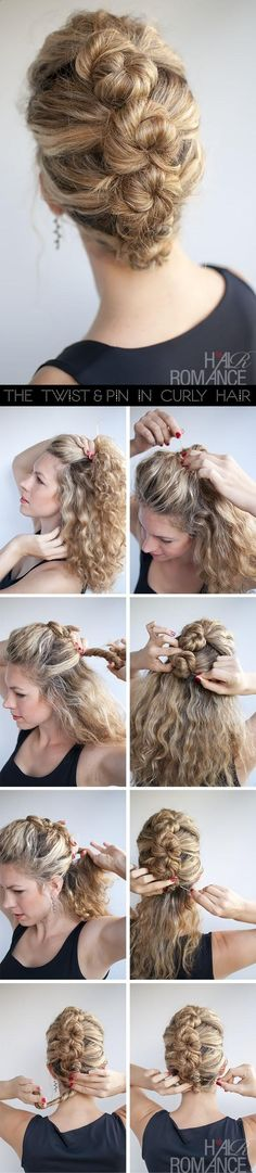 15 Incredible Hairstyle Tutorials for Curly Hair Hair Romance hairstyle tutorial - The French Twist and Pin in curly hair -- I could only wish for hair this thick and lovely. My hair and this style would look like I had blonde pimples on my head. Pretty Hairstyles, Easy Hairstyles, French Hairstyles, Prom Hairstyles, Curly Haircuts, Popular Hairstyles, Church Hairstyles, 1950s Hairstyles, Office Hairstyles