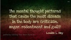 The mental thought patterns that cause the most disease in the body are critism, anger, resentment and guilt! ~Louise L Hay