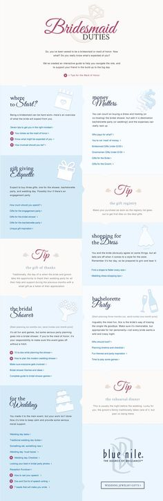 So, you've been asked to be a bridesmaid or maid of honor. Now what? Do you really know what's expected of you? We've created an interactive guide to help you navigate the role, and to support your friend on the big day.: