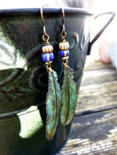 Green patina feathers, Czech glass beads, dangle jewelry, bohemian earrings. Green patina jewelry