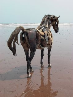 Heather Jansch original driftwood and mixed media contemporary horse sculpture by the sea in Devon