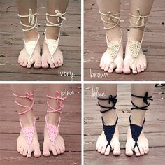Crochet Barefoot Sandals  7 Color Choices by SereneFiberArts, $8.00