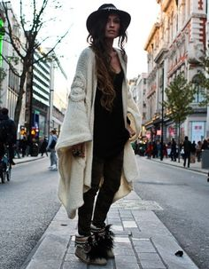 Comfy maxi knit shawl paired with basic black. Love those bohemian boots! Check…