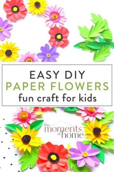 This beautiful DIY paper flower wreath craft is fun to make for young children and adults alike. Simple enough to do with your kids and beautiful enough to give as a gift. Paper crafts are simple, frugal, fun art projects for kids.