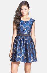 a. drea Embellished Waist Metallic Fit & Flare Dress (Juniors)