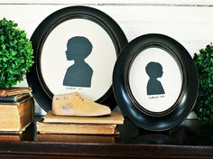 I've always loved oval-framed silhouette art...perfect to commemorate children. I wonder if students could make these using shadows. would be cool to mark portfolios