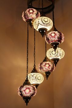 Multicolour Turkish Mosaic Hanging Lamp Light Hand Craft 7 Large Mosaic Globe  #Tiffany Moroccan Ceiling Light, Moroccan Chandelier, Ceiling Chandelier, Modern Chandelier, Chandeliers, Turkish Lanterns, Turkish Lights, Turkish Lamps, Chandelier In Living Room