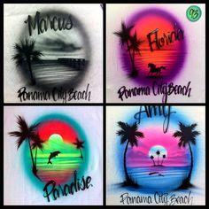 Airbrushed airbrush custom beach t shirt t-shirt neon by AirWair Airbrush Designs, Airbrush Art, Airbrush Shirts, Painted Hats, Beach Wood, Beach T Shirts, Air Brush Painting, Sweet 16 Parties, Spring Break