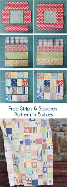 Patchwork quilting for beginners squares Ideas Strip Quilt Patterns, Hand Quilting Patterns, Strip Quilts, Easy Quilts, Quilting Tutorials, Quilting Designs, Beginner Quilt Patterns Free, Applique Patterns, Canvas Patterns