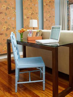 Love the shade of blue on the chair.  small space solution: console table as home office