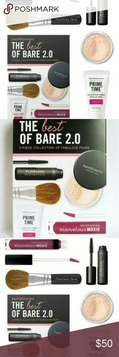 BARE MINERALS BEST OF BARE 2.0 5 Piece SET/KIT NEW ~BAREMINERALS/BARE ESCENTUALS~ Bare Minerals BEST OF BARE 2.0 5 PIECE SET/KIT COLLECTION OF FABULOUS FAVES  NIB BRAND NEW IN THE BOX NEVER OPENED USED OR TESTED!  1.) Mini Prime Time Original Foundation Primer (15ML/0.5OZ)  2.) Original Mineral Veil Finishing Powder (0.75G/0.15OZ)  3.) Marvelous Moxie Lipgloss in Dare Devil (45ML/0.15OZ)  4.) Mini Flawless Definition Mascara in Black (5ML/0.16OZ)  5.) Mini Flawless Application Face Brush…