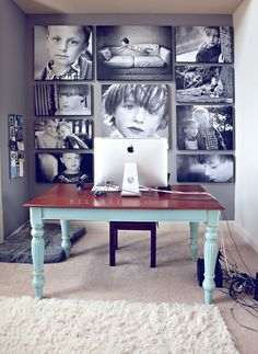 Arbeitszimmer mit Galeriewand Workplace,Workspace, Home Office, Photos, Galeri… - Fotowand ideen Home Office Design, House Design, Office Designs, Sweet Home, Diy Casa, Office Walls, Office Playroom, Office Spaces, Office Nook