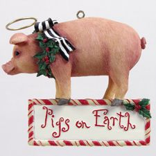 Pigs on Earth Christmas Ornament
