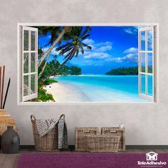 Adhesivos de pared en forma de ventana en Teleadhesivo Wall Stickers Window, Window Wall, Punta Cana, Ceiling Design, Wall Design, Versace Wallpaper, Beach Wall Murals, Photo Mural, Vinyl Paper