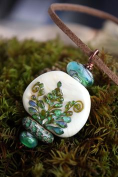Glass lampwork pendant with fern Lampwork fern by TaigaLampwork
