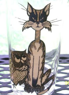 Vintage Culver Glass Gold Owl & Pussy Cat Kitty Collectible Barware